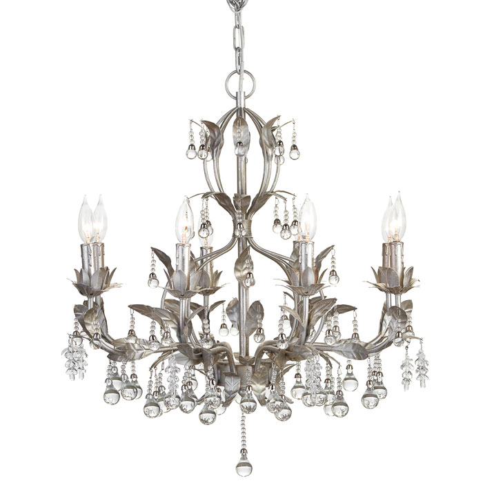 8 arm chandelier features ornamented clear glass beads that hang from cast iron leaves from ZGallerie