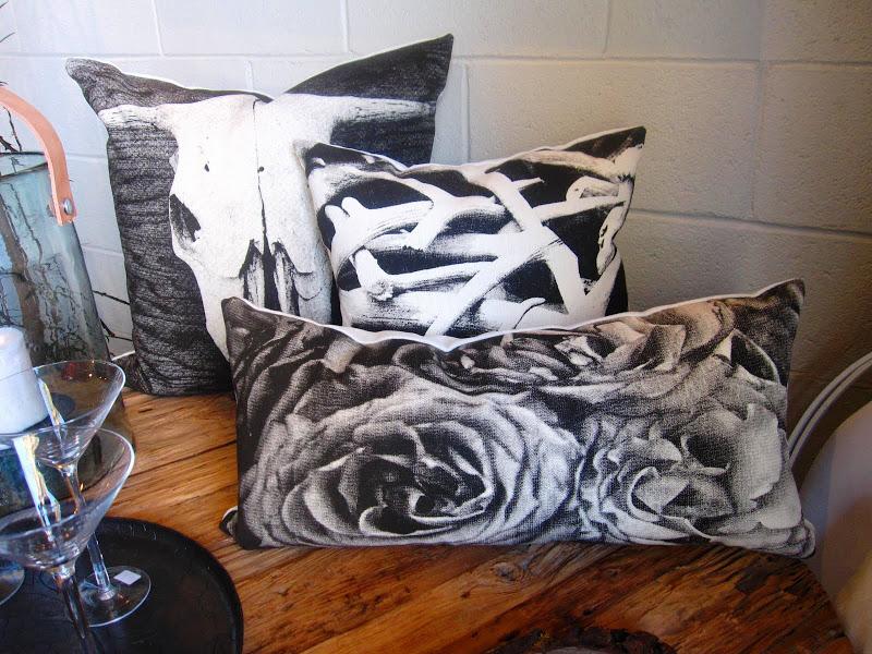 Decorative hemp screen printed pillows