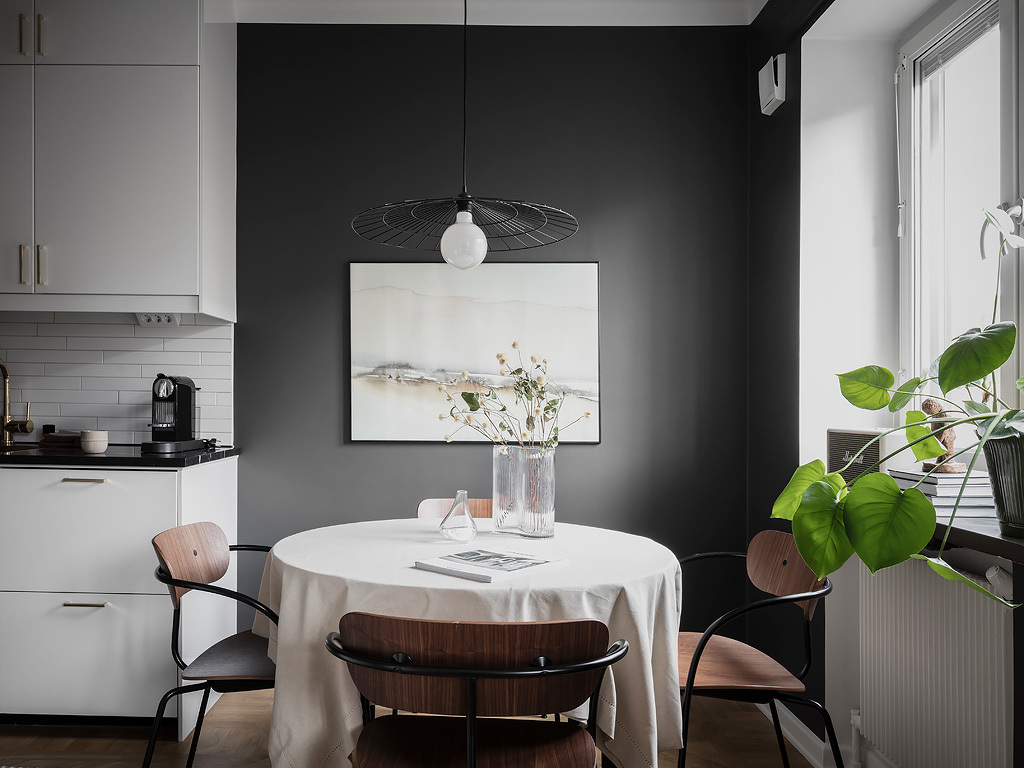 Dark dining table corner