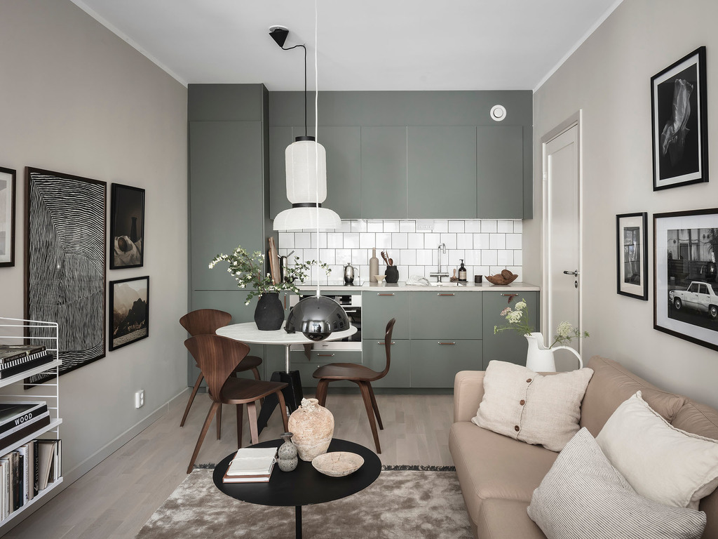 Studio home in a moody color palette