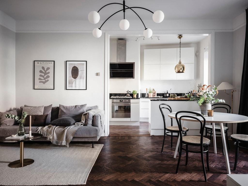 Adjacent kitchen and living room