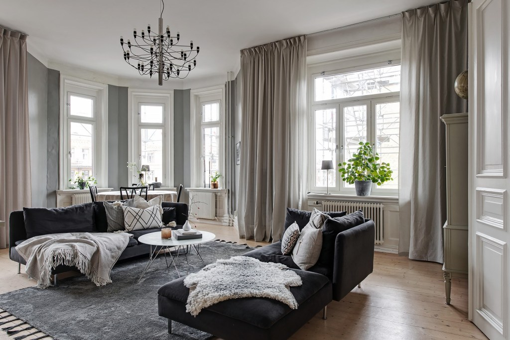 beautiful home with black accents