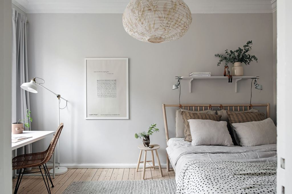 Grey bedroom with wood accents