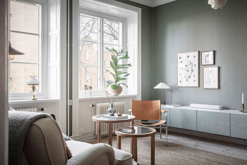 Cozy home with green-grey walls