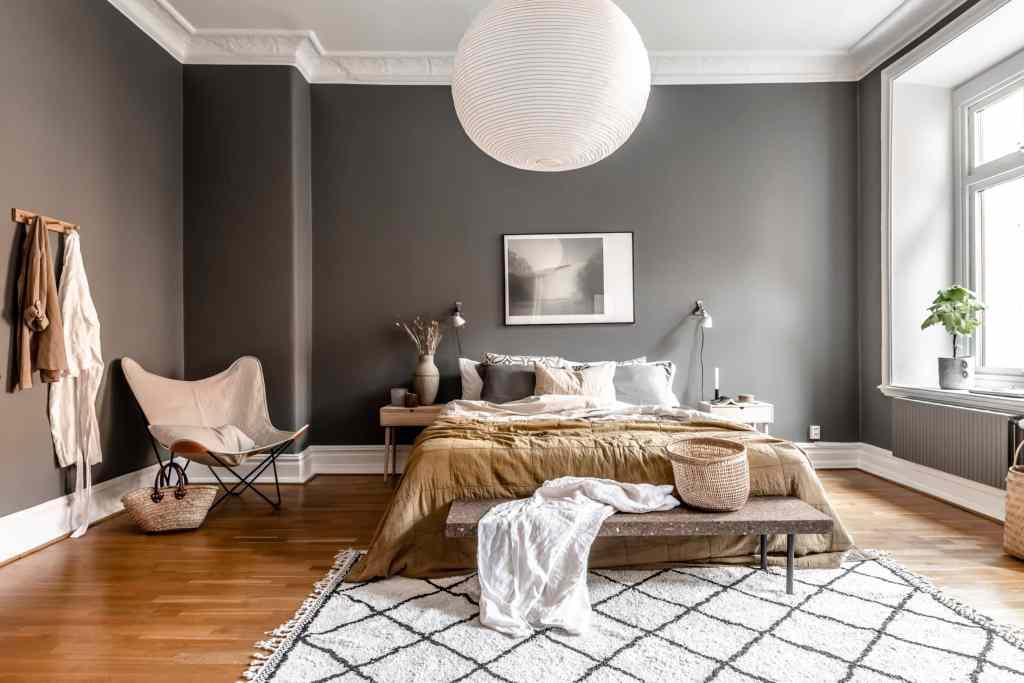 Dark grey bedroom with warm accents