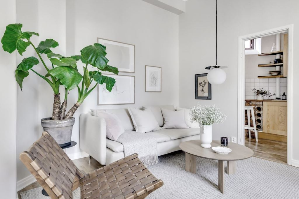 White home with a green touch
