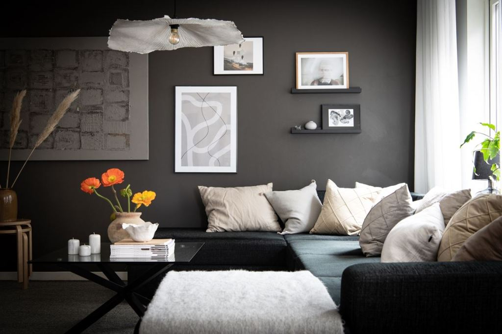 Beautiful home with a black accent wall
