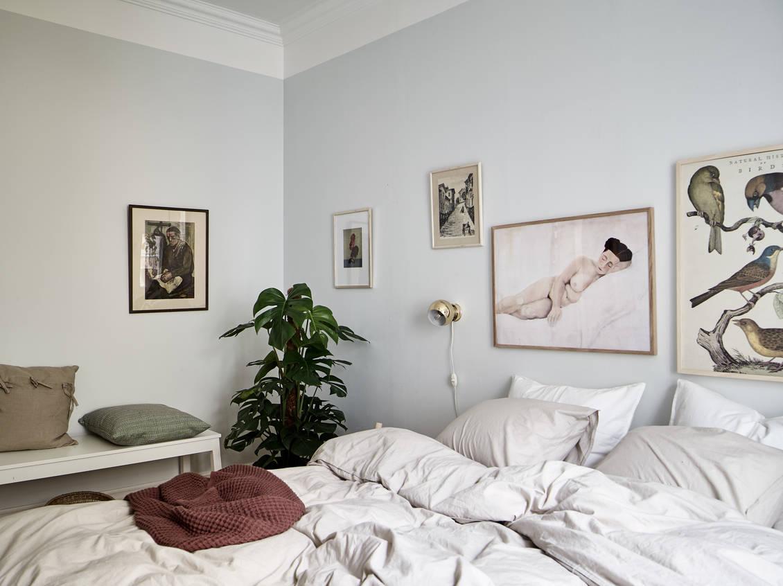 Cozy Bedroom With Light Blue Walls Coco Lapine Designcoco Lapine Design