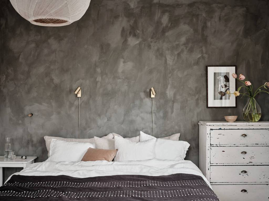 Cozy bedroom with a mineral wall