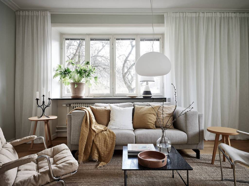 Fresh green grey apartment