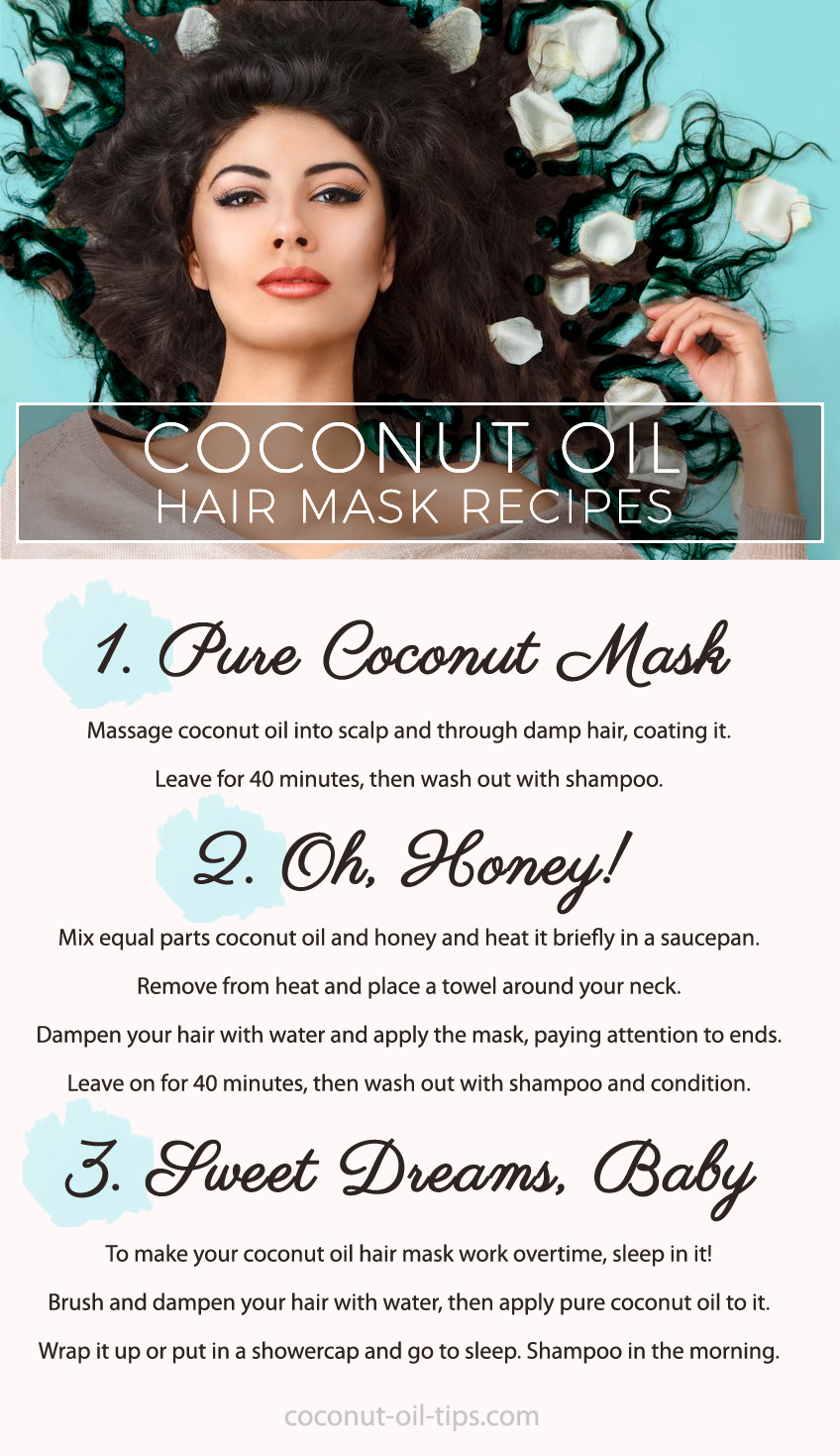 Coconut Oil Hair Mask Recipes Infographic