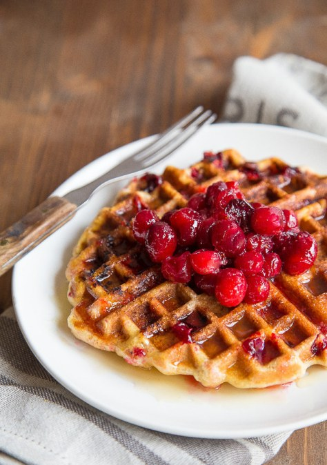 Cranberry Cornmeal Waffles With Cider Syrup