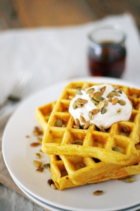 Pumpkin Spice Waffles With Maple Cream