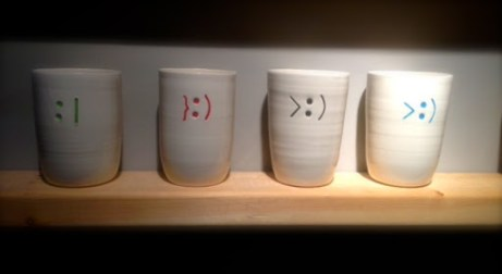 ~ Text faces on mugs ~