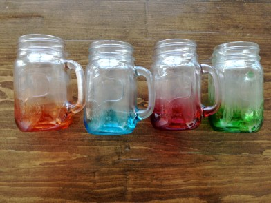 ~ Colourful mason cups courtesy of my sister ~