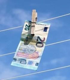 Money pegged to washing line