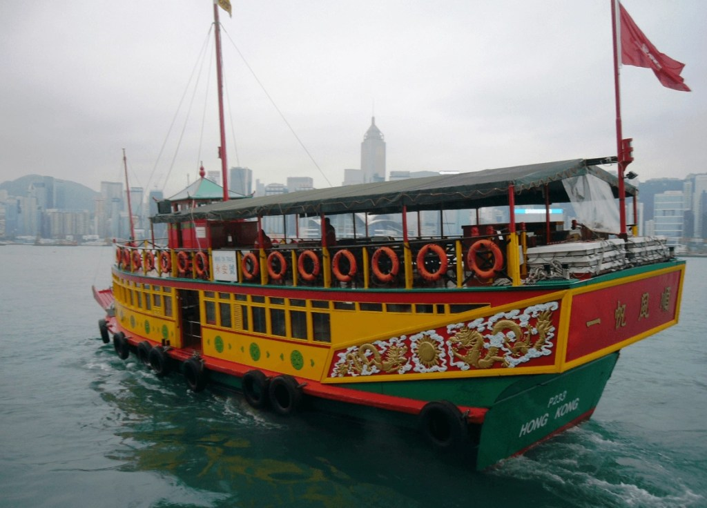 Traditional boat on Hong Kong harbour