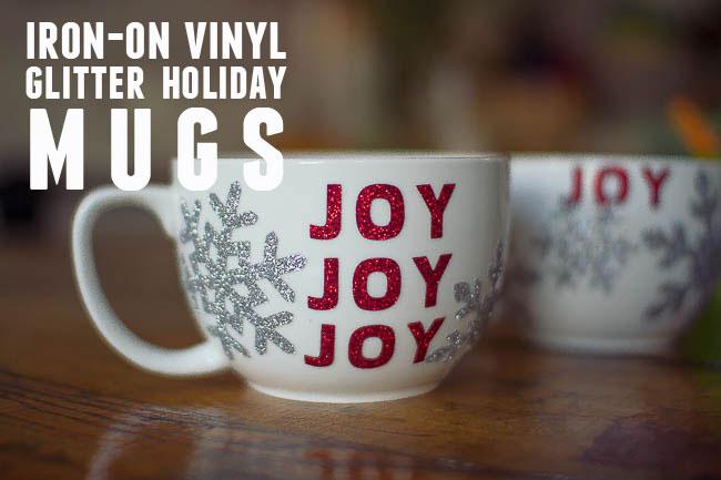 DIY Glitter Holiday Mugs