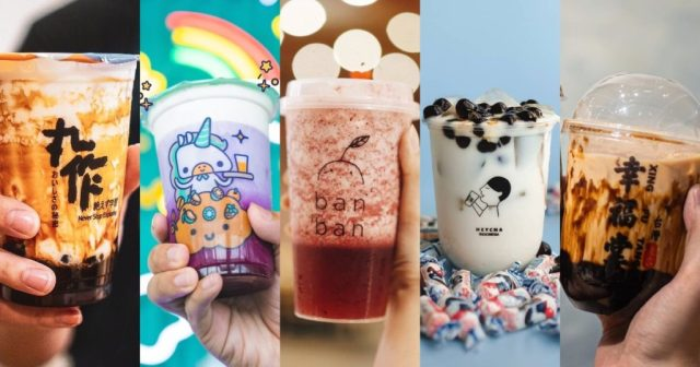 Several new boba brands in Jakarta. Can you spot your favorite? Photo: Instagram/@onezo.id, @kokumi_id, @banban.tea, @heychaofficial, @xingfutang_indonesia