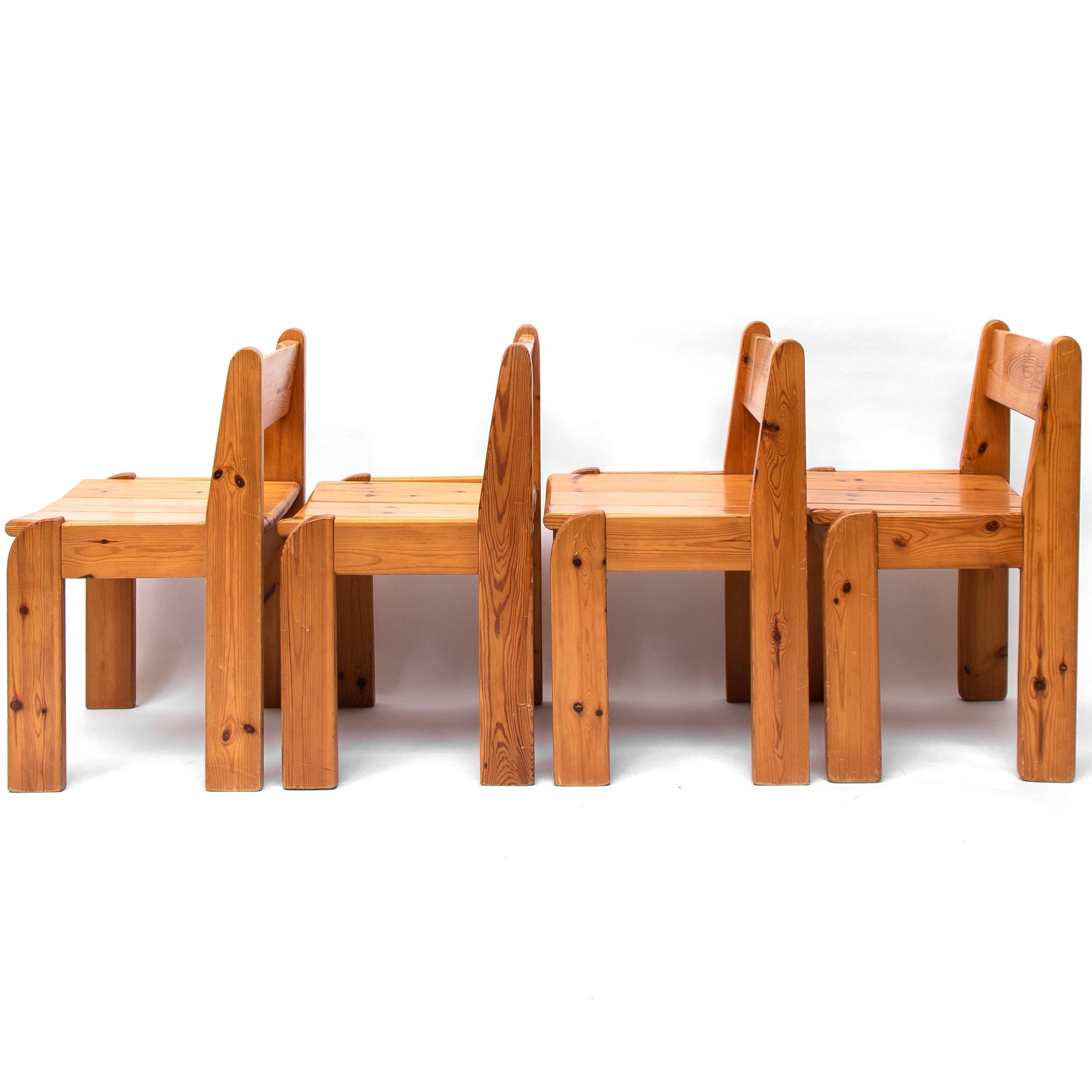 Outstanding Set Of Four Ate Van Apeldoorn Pine Dining Chairs 1970S Cjindustries Chair Design For Home Cjindustriesco