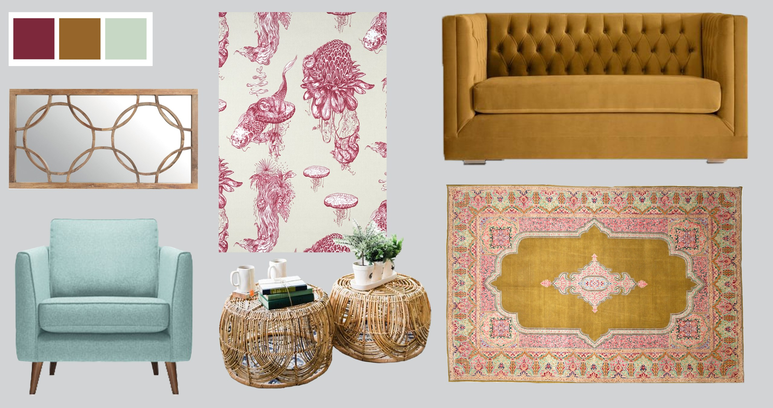 Colour-Palette-for-Interiors-High-Life-Burgundy-Curtain-fabric-Cocoon-Home-2