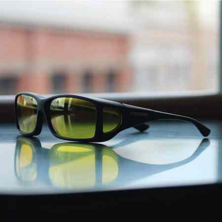 Wide Line cocoons fitover sunglasses with lemon low vision lenses