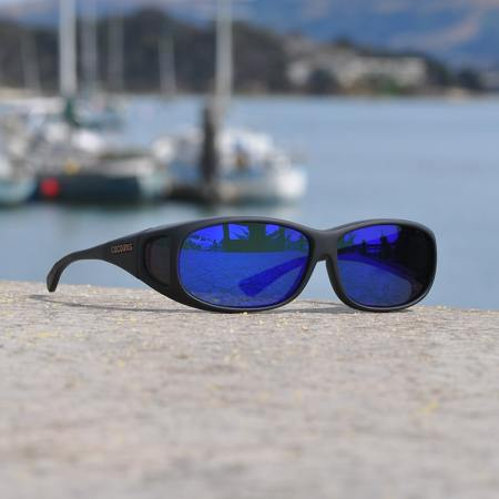 Mini Slim fitover sunglasses with blue mirror