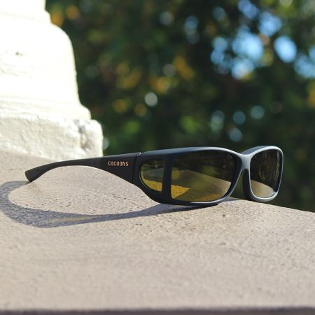Black Cocoons fitover sunglasses with yellow