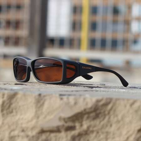 Slate Soft Touch finish with copper lenses on cocoons fitover sunglasses