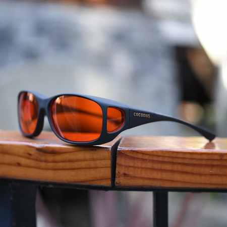 Blue-blocking fitover sunglasses by cocoons