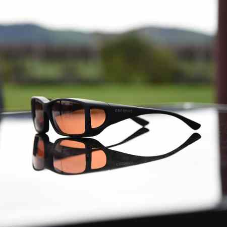 Black Cocoons fitover sunglasses with copper