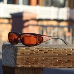 Tortoiseshell fitover sunglasses with copper