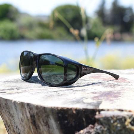 shiny black aviator fitover sunglasses