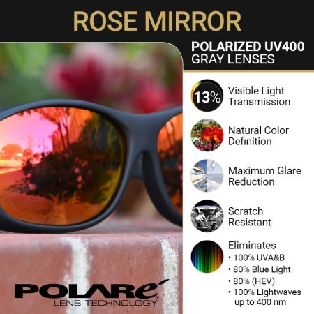 Polarized Gray Lens with Rose Mirror