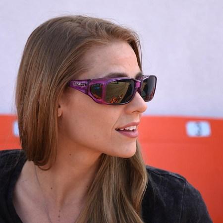 Purple fitover sunglasses on erin