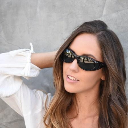 Shiny black fitover sunglasses on jorey