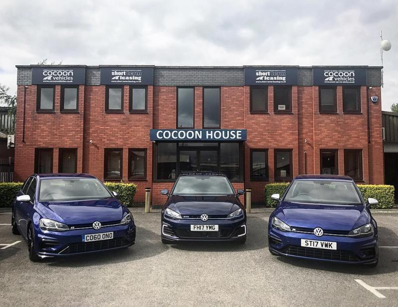 """3 x Blue Golfs! 2 x Golf R and 1 Golf GTE Short and Long Term Car Leasing : 0330 330 9425 : or GOOGLE """"Cocoon Vehicles"""""""