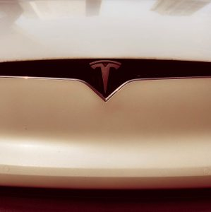 Telsa Logo on front of car