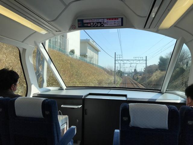 名鉄特急展望席からの風景の写真