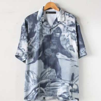 DCBA BY SON OF THE CHEESE|OPEN COLLARRED SHIRT SS #BLACK