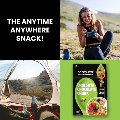 Cocosutra Chia Soya Chocolate Chunk Granola - Healthy Breakfast Cereal & Snack - Benenfits