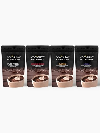 Cocosutra Hot Chocolate Collection - Pack of 4 - Gourmet Drinking Chocolate Hamper