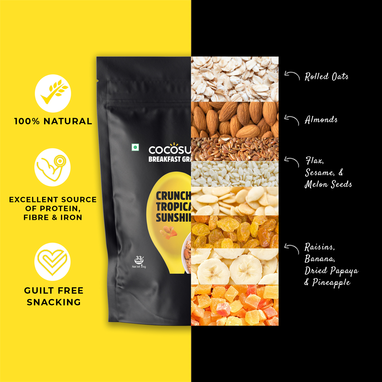 Crunchy Tropical Sunshine Granola 1kg - Healthy Breakfast Cereal & Snack - Natural Ingredients