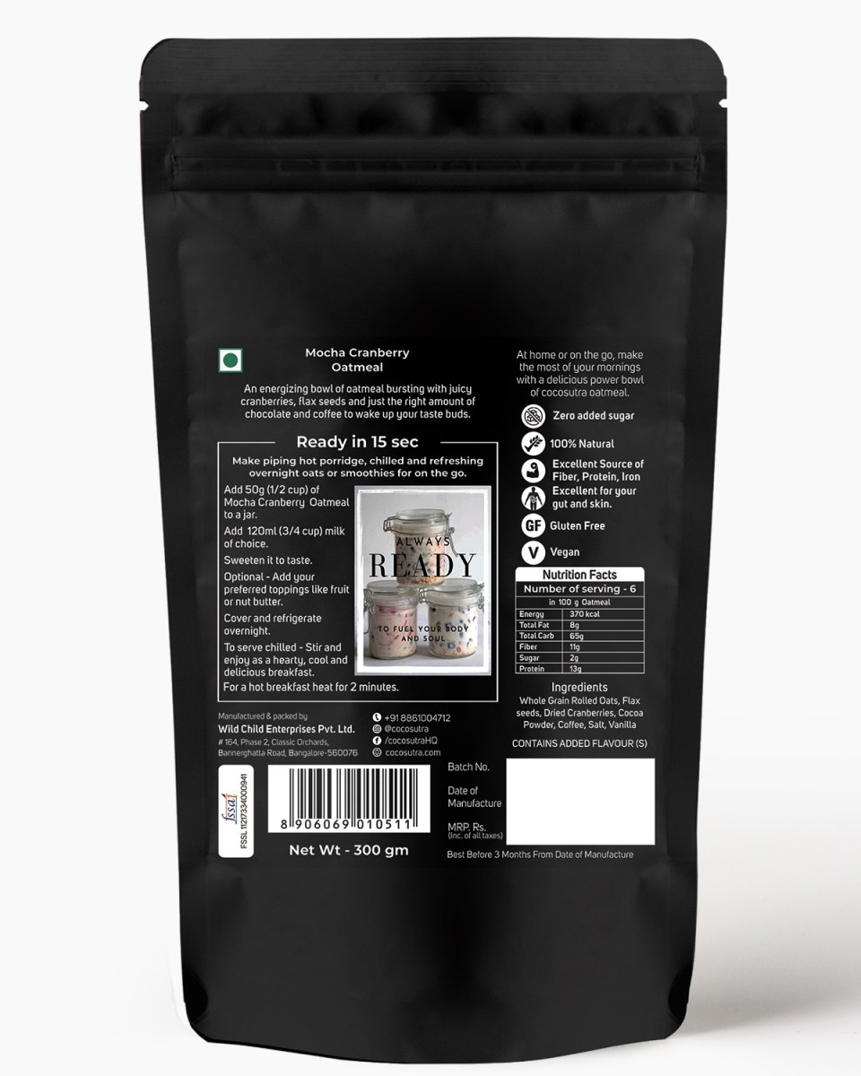 Cocosutra Mocha Cranberry Oatmeal - Back - Nutrition & Instructions - Gluten free Rolled Oats