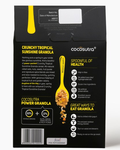 Crunchy Tropical Sunshine 300g - Back - Description - Healthy Breakfast Cereal & Snack