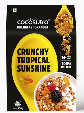 Crunchy Tropical Sunshine Granola 300g - Front - Healthy Breakfast Cereal & Snack