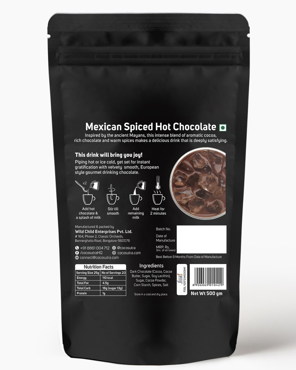 Cocosutra Mexican Spiced Hot Chocolate Mix 500g - Back - Best for Hampers & Gifts