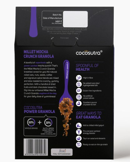 Millet Mocha Crunch 300g - Back - Description - Healthy Breakfast Cereal & Snack