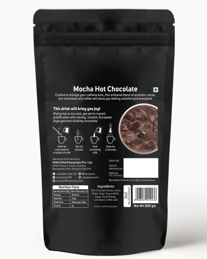 Cocosutra Mocha Hot Chocolate Mix 500g - Back - Best for Hampers & Gifts