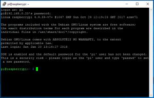 SSH premiere conexion motte de pas est raspbery, utilisateur : pi